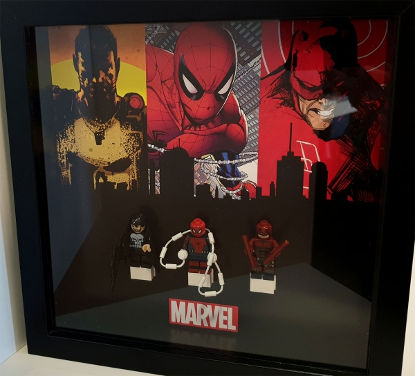 Cuadro de minifiguras Marvel: Spiderman Punisher Daredevil