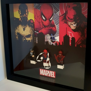 Cuadro de minifiguras Marvel: Spiderman Punisher Daredevil
